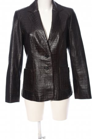 Dibari Lederjacke schwarz Allover-Druck Business-Look