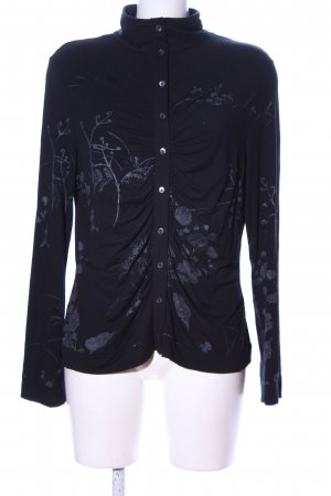 Dibari Langarm-Bluse schwarz-hellgrau abstraktes Muster Casual-Look