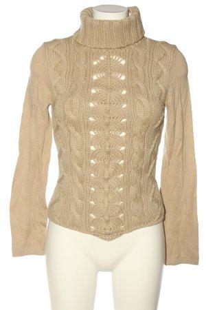 Dibari Maglione di lana crema punto treccia stile casual