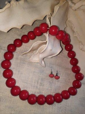 True Vintage Collar de perlas rojo ladrillo