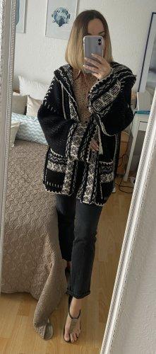 Pull & Bear Manteau en tricot blanc-noir