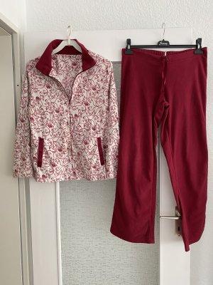 dicker hausanzug zweiteiler in dunkelrot weiß, pyjama set
