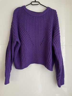 H&M Divided Knitted Sweater dark violet