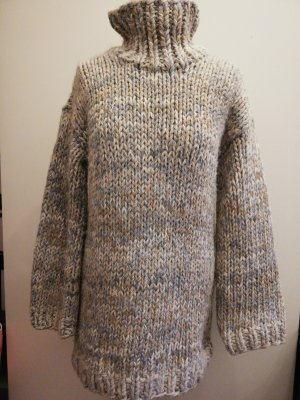 Coarse Knitted Sweater light grey-grey brown