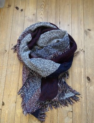 Dicker Schal grau/lila/blau