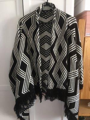 Cardigan a maglia grossa nero-bianco