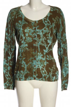 Didi Cardigan brown-turquoise allover print casual look