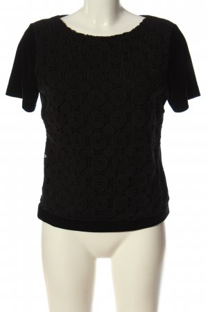 Didier Parakian Short Sleeved Blouse black graphic pattern casual look