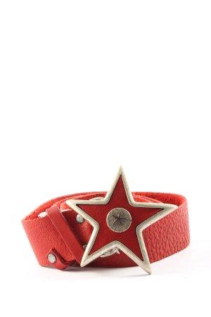 die liga Hebilla del cinturón rojo-blanco look casual