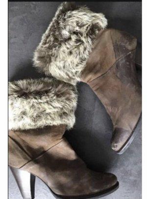 Progetto Futrzane buty jasnobrązowy-szaro-brązowy Skóra