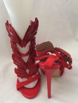 Sandalo con cinturino rosso mattone Pelle