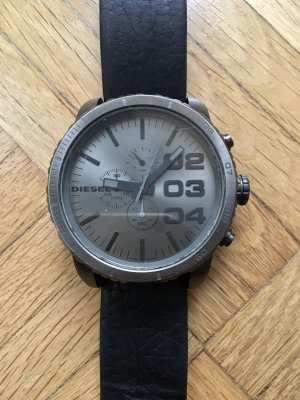 Diesel Watch With Leather Strap black-silver-colored leather