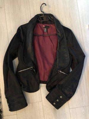 Diesel Blazer in pelle nero-rosso scuro
