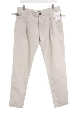Diesel Pantalone chino grigio chiaro-beige chiaro Logo applicato (in pelle)