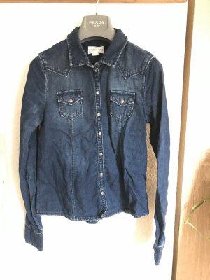 Diesel Chemise en jean bleu foncé coton