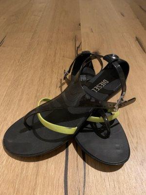 Diesel Sandalias con talón descubierto negro-amarillo neón