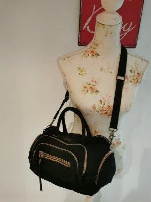 Diesel Damen Handtasche Canvas Umhängetasche schwarz gold