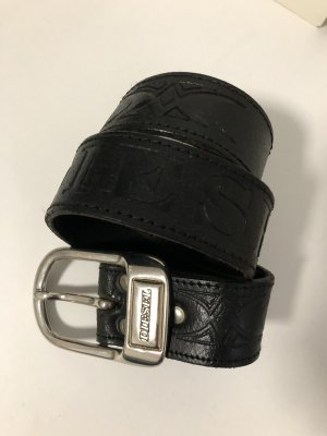 Diesel Leather Belt black-silver-colored