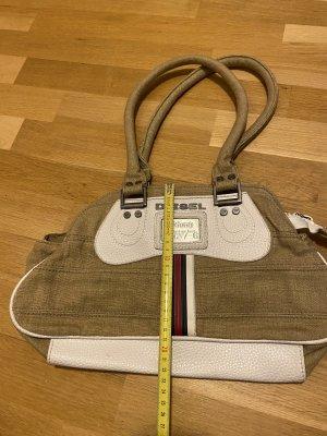 DIESEL Handtasche beige / weiß Leinen
