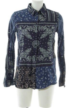 Diesel Hemd-Bluse blau abstraktes Muster Casual-Look