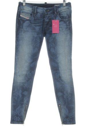 Diesel Industry Skinny Jeans dunkelblau-hellgelb abstraktes Muster Casual-Look