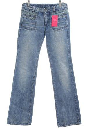 Diesel Industry Straight-Leg Jeans blau-weiß Casual-Look