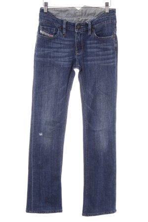 Diesel Industry Straight-Leg Jeans dunkelblau-himmelblau Destroy-Optik