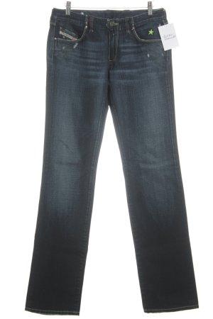 Diesel Industry Straight-Leg Jeans dunkelblau Used-Optik