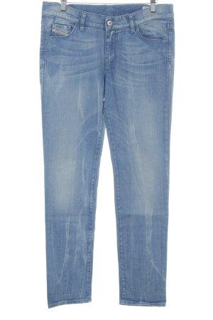 Diesel Industry Straight-Leg Jeans kornblumenblau-stahlblau Biker-Look