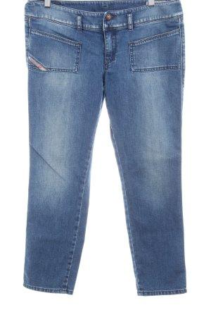 Diesel Industry Straight-Leg Jeans stahlblau-weiß Casual-Look