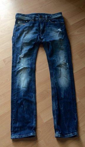 Diesel Pantalon taille basse bleu coton