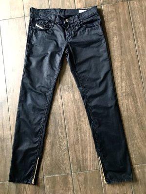 Diesel Pantalon taille basse noir coton