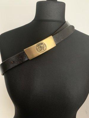 Diesel Cintura di pelle marrone-nero-marrone scuro Pelle