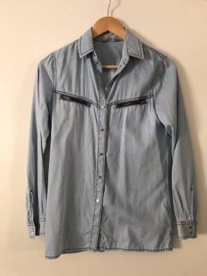 Diesel Industry Jeansowa koszula jasnoniebieski-błękitny Bawełna