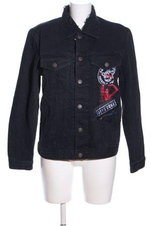 Diesel Jeansjacke schwarz Motivdruck Casual-Look