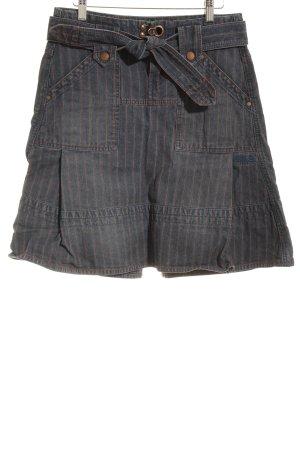 Diesel Jeansrock dunkelblau-hellrot Streifenmuster Casual-Look