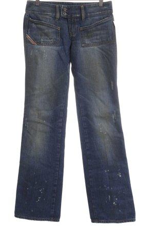 Diesel Jeansschlaghose stahlblau-limettengelb Casual-Look