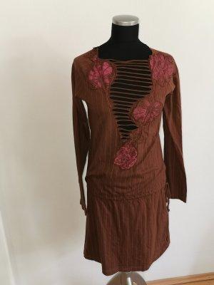Diesel Sukienka z wycięciem brązowy-różowy Bawełna