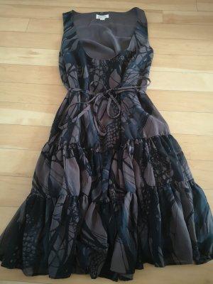 Diesel Szyfonowa sukienka czarny-ciemnobrązowy