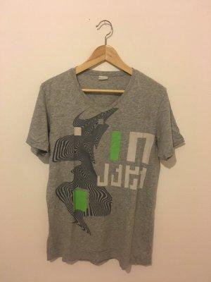 Diesel L Large 40 V Shirt T-Shirt halbarm Kurzarm hellgrau abstrakt gemustert Anthrazit grün neon oversize unisex boyfriend grau meliert