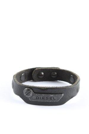 Diesel Lederen armband zwart casual uitstraling
