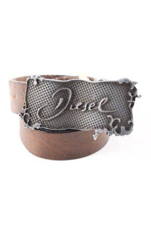 Diesel Cintura di pelle marrone-argento stile casual