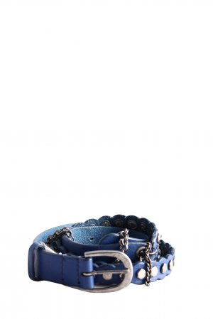 Diesel Leather Belt blue-silver-colored casual look