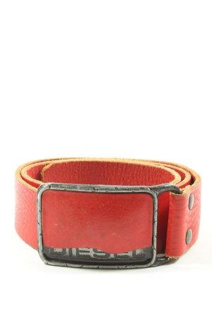 Diesel Ledergürtel rot-schwarz Motivdruck Casual-Look