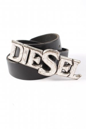 Diesel Leather Belt black printed lettering business style