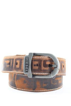 Diesel Cinturón de cuero de imitación naranja claro-marrón letras impresas