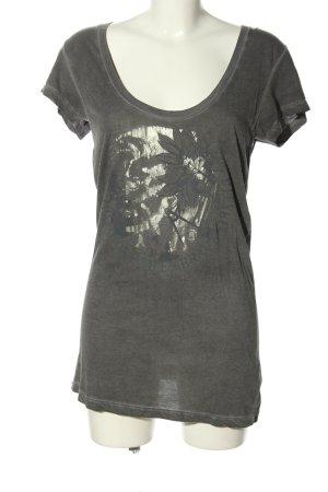 Diesel Longshirt hellgrau-silberfarben Motivdruck Casual-Look