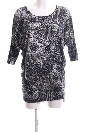 Diesel Oversized Pullover hellgrau-schwarz abstraktes Muster Casual-Look