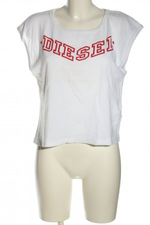 Diesel Oversized Shirt white-red printed lettering casual look