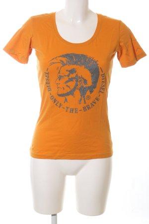 Diesel Print-Shirt hellorange-blau Motivdruck Casual-Look